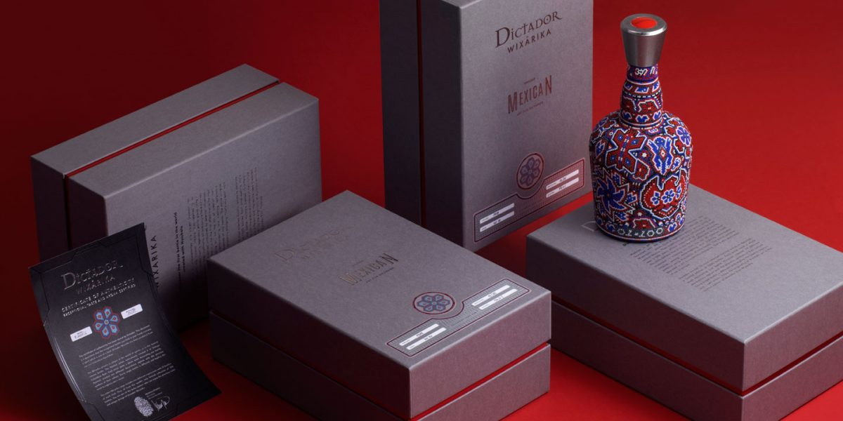 Arranged photo of boxes and bottle Wixarika Dictador rum